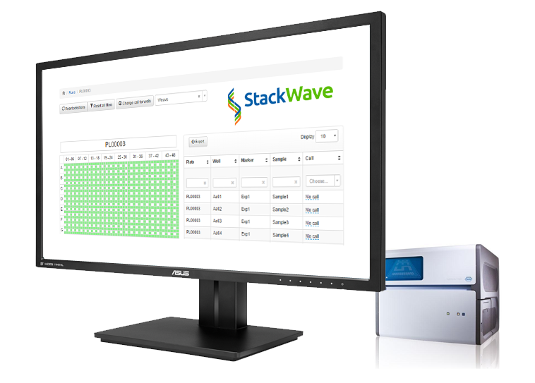 An image that shows a screenshot of the StackWave Thermal Cycler Dashboard and a Roche LC1536 device used for genotyping